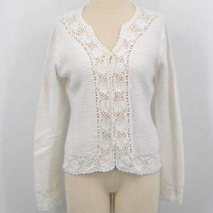 Vintage Christopher & Banks Flower Knit Sweater